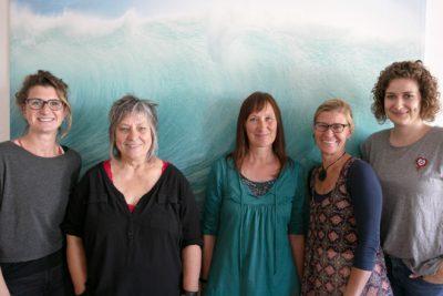 von links nach rechts: Daniela Halfmann, Marie Brenner, Dagmar Ahrens, Birgit Bous, Annette Umscheid